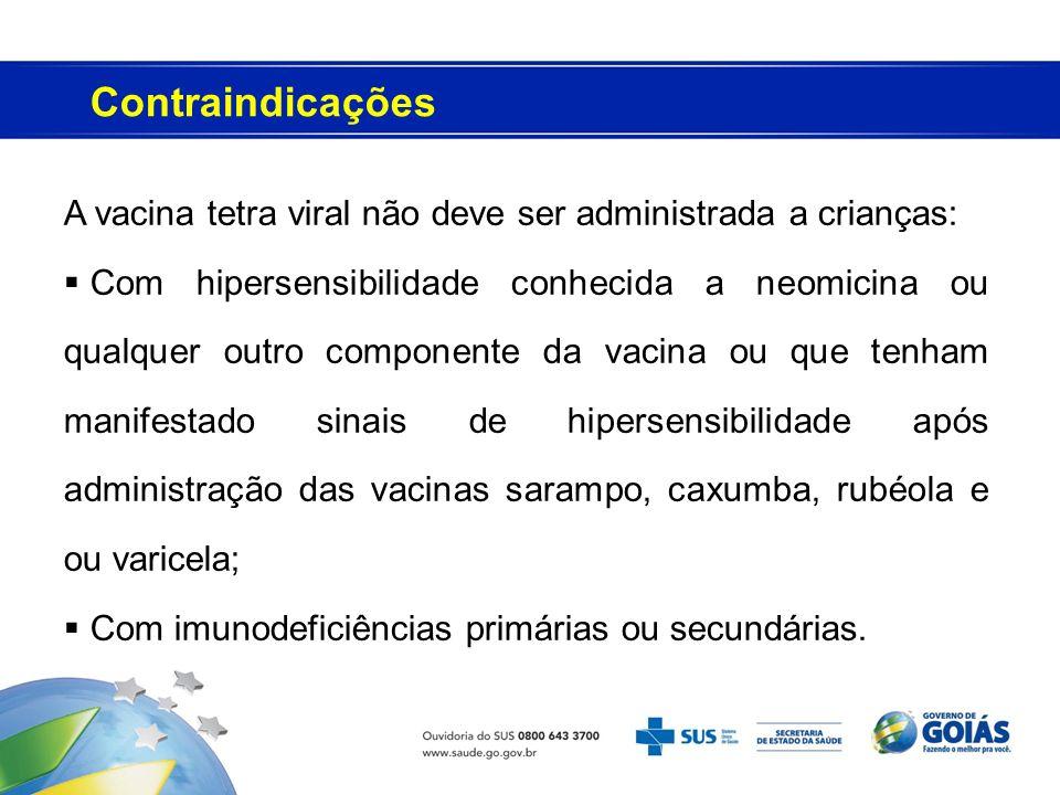 Contraindicações A vacina tetra viral não deve ser administrada a crianças: