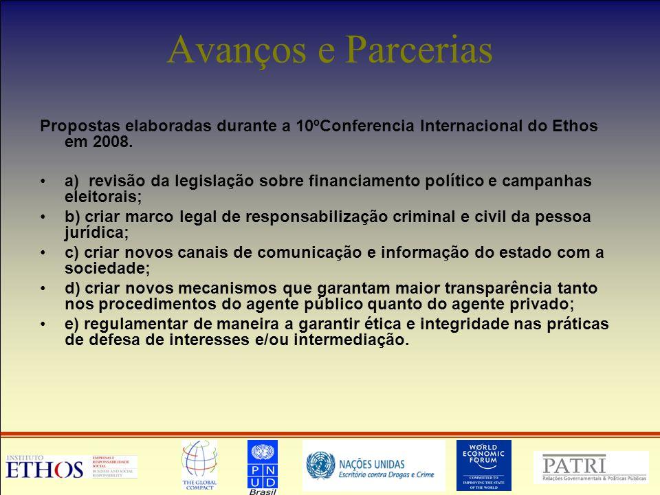 Avanços e Parcerias Propostas elaboradas durante a 10ºConferencia Internacional do Ethos em 2008.