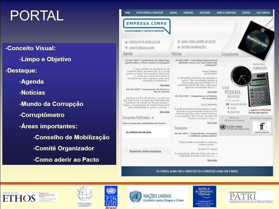 PORTAL Conceito Visual: Limpo e Objetivo Destaque: Agenda Notícias