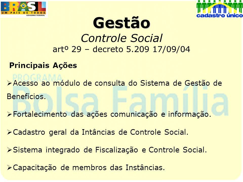 Gestão Controle Social artº 29 – decreto 5.209 17/09/04