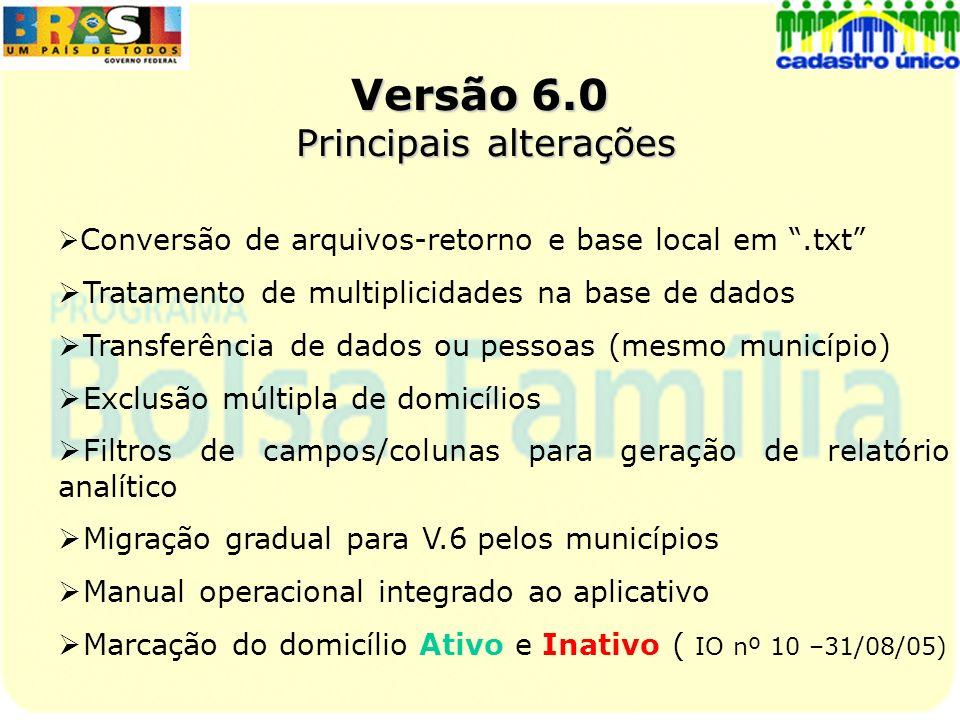 Versão 6.0 Principais alterações
