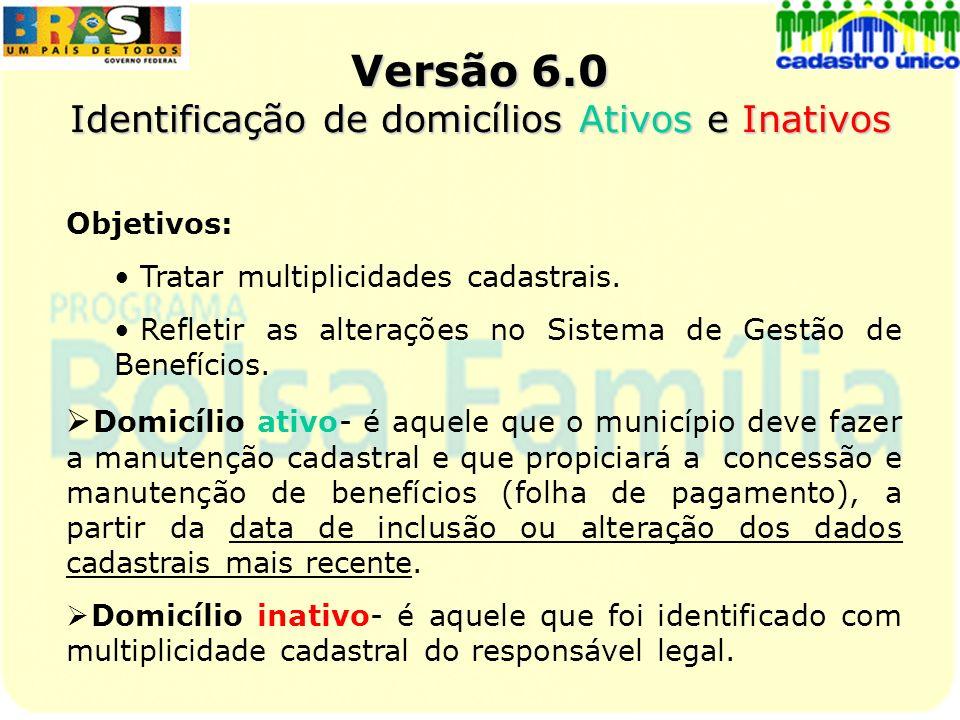 Versão 6.0 Identificação de domicílios Ativos e Inativos