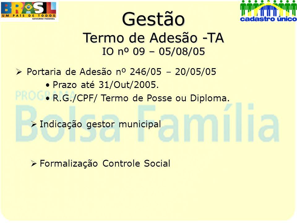 Gestão Termo de Adesão -TA IO nº 09 – 05/08/05