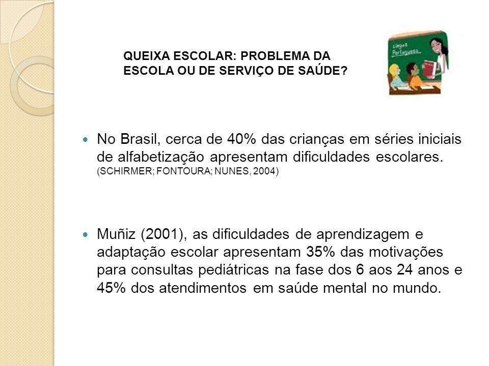 No Brasil, cerca de 40% das crianças em séries iniciais de alfabetização apresentam dificuldades escolares. (SCHIRMER; FONTOURA; NUNES, 2004)