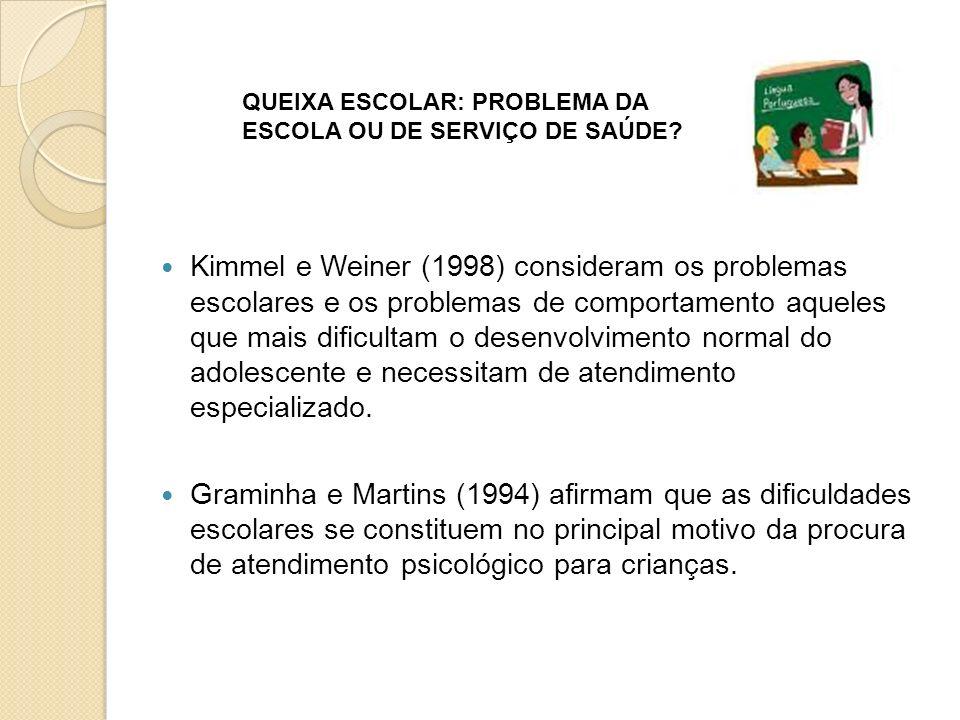 Kimmel e Weiner (1998) consideram os problemas escolares e os problemas de comportamento aqueles que mais dificultam o desenvolvimento normal do adolescente e necessitam de atendimento especializado.