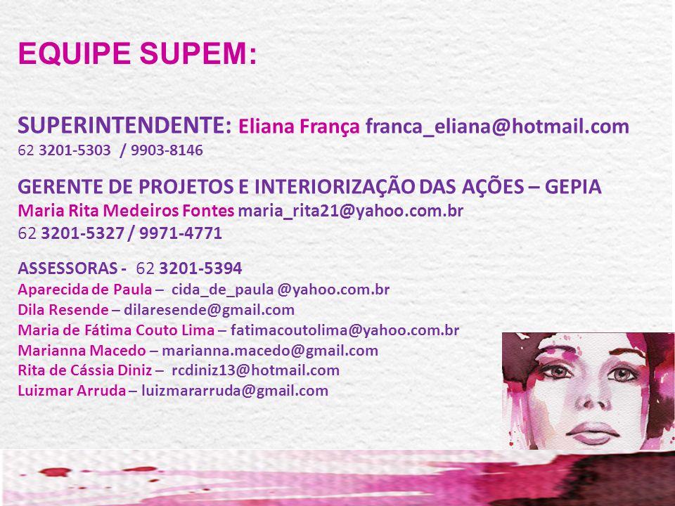 EQUIPE SUPEM: SUPERINTENDENTE: Eliana França franca_eliana@hotmail.com