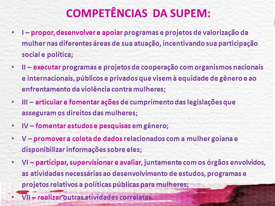 COMPETÊNCIAS DA SUPEM: