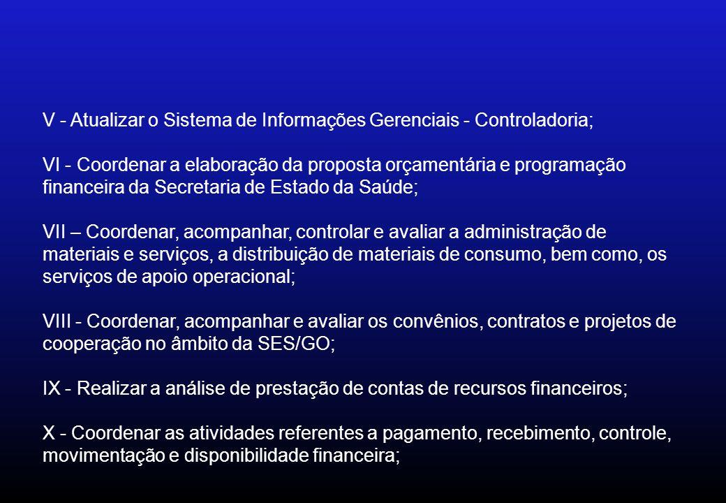 V - Atualizar o Sistema de Informações Gerenciais - Controladoria;