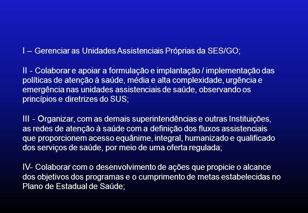 I – Gerenciar as Unidades Assistenciais Próprias da SES/GO;