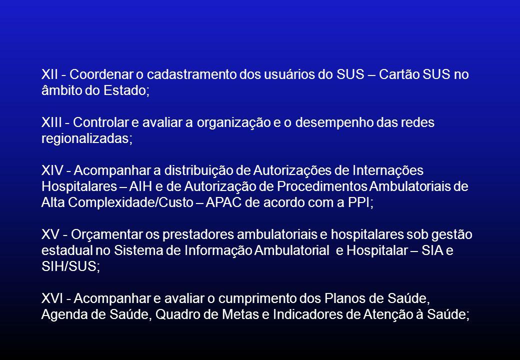 XII - Coordenar o cadastramento dos usuários do SUS – Cartão SUS no âmbito do Estado;