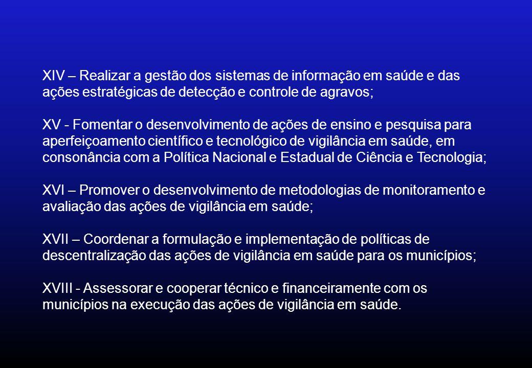 XIV – Realizar a gestão dos sistemas de informação em saúde e das ações estratégicas de detecção e controle de agravos;