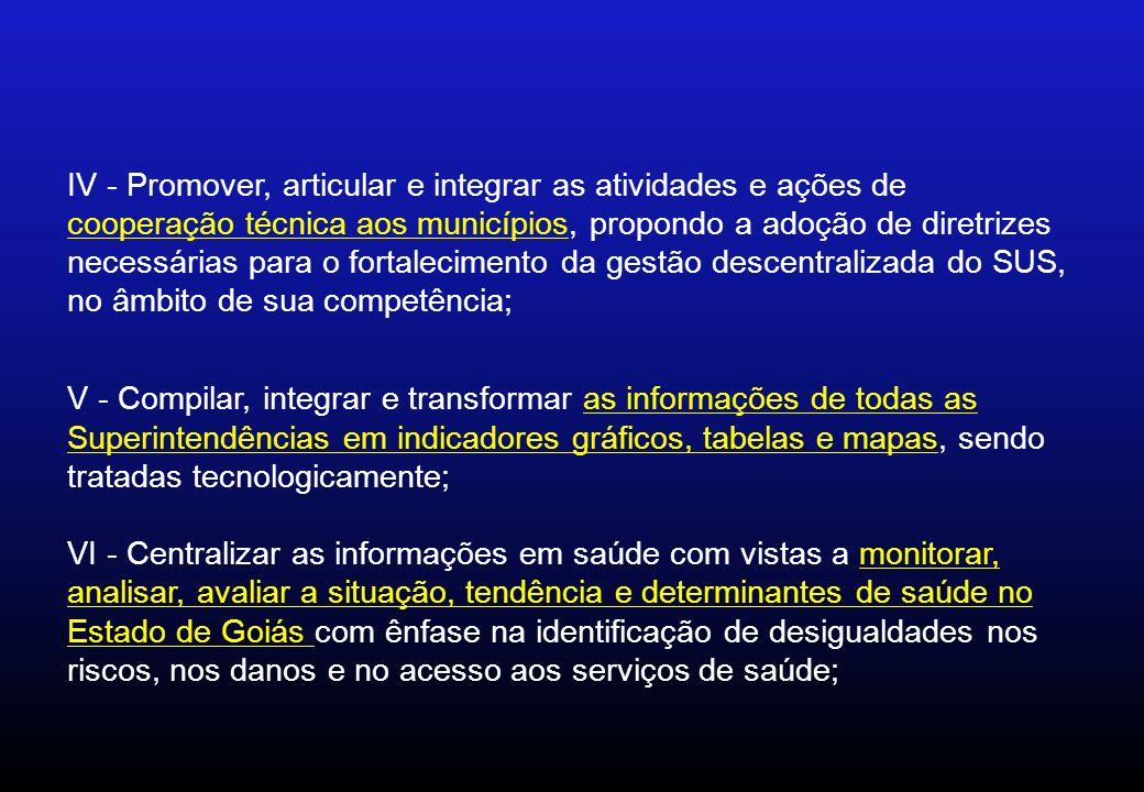 IV - Promover, articular e integrar as atividades e ações de cooperação técnica aos municípios, propondo a adoção de diretrizes necessárias para o fortalecimento da gestão descentralizada do SUS, no âmbito de sua competência;