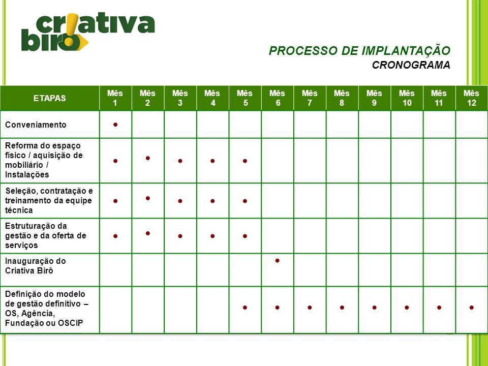 • PROCESSO DE IMPLANTAÇÃO CRONOGRAMA ETAPAS Mês 1 2 3 4 5 6 7 8 9