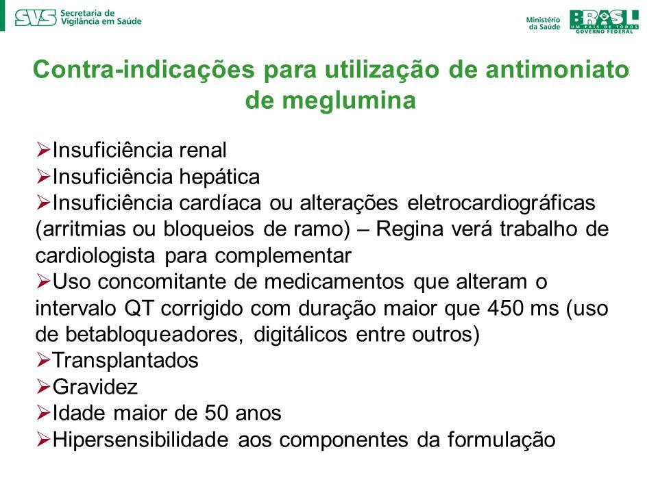 Contra-indicações para utilização de antimoniato de meglumina