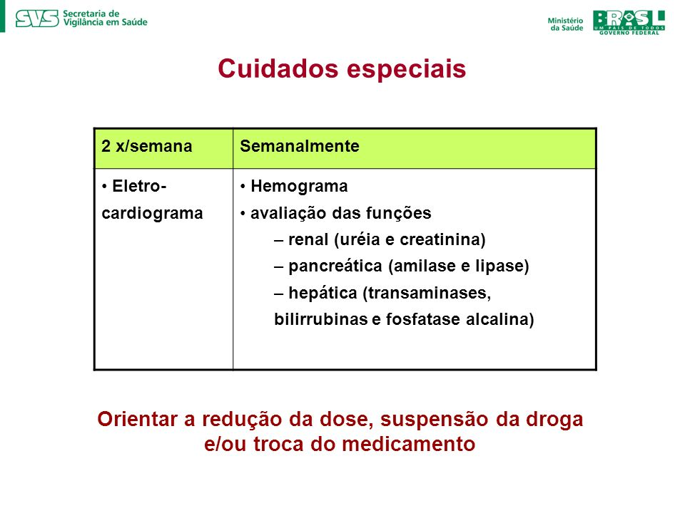 Cuidados especiais 2 x/semana. Semanalmente. Eletro-cardiograma. Hemograma. avaliação das funções.