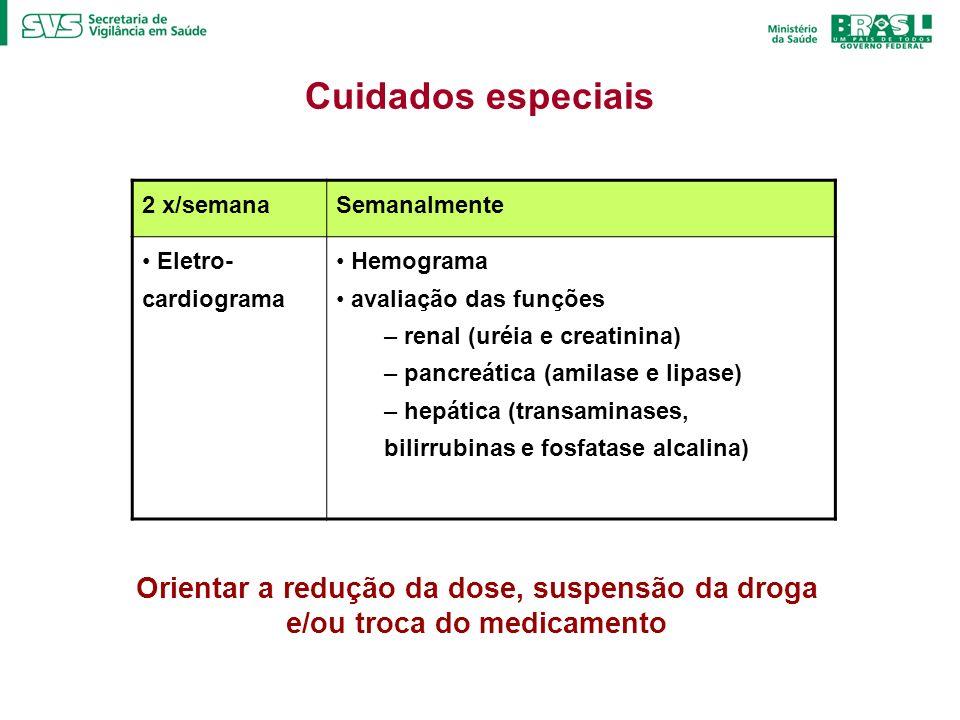 Cuidados especiais2 x/semana. Semanalmente. Eletro-cardiograma. Hemograma. avaliação das funções. renal (uréia e creatinina)