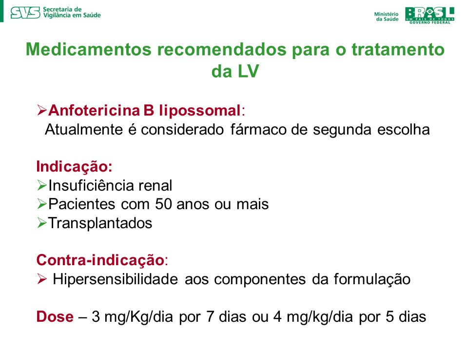Medicamentos recomendados para o tratamento da LV