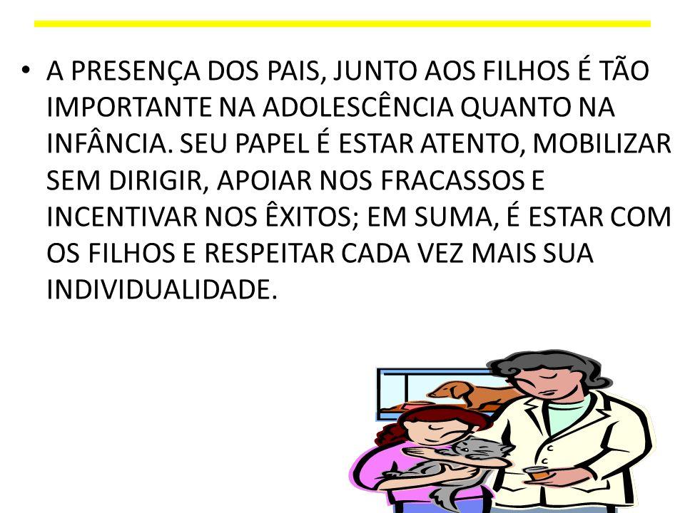 A PRESENÇA DOS PAIS, JUNTO AOS FILHOS É TÃO IMPORTANTE NA ADOLESCÊNCIA QUANTO NA INFÂNCIA.