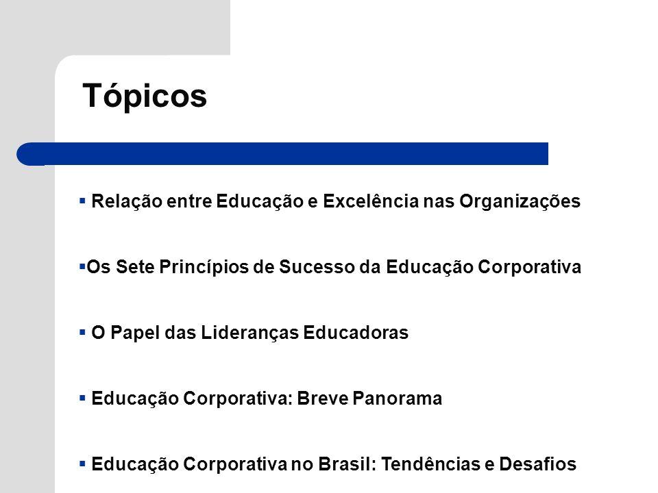Tópicos Relação entre Educação e Excelência nas Organizações