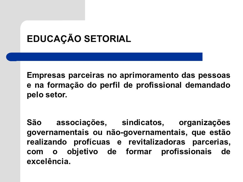 EDUCAÇÃO SETORIAL Empresas parceiras no aprimoramento das pessoas e na formação do perfil de profissional demandado pelo setor.