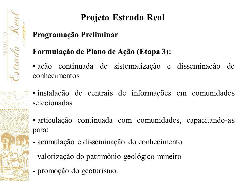 Projeto Estrada Real Programação Preliminar