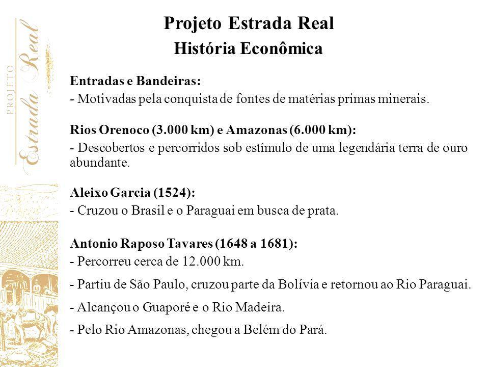 Projeto Estrada Real História Econômica Entradas e Bandeiras: