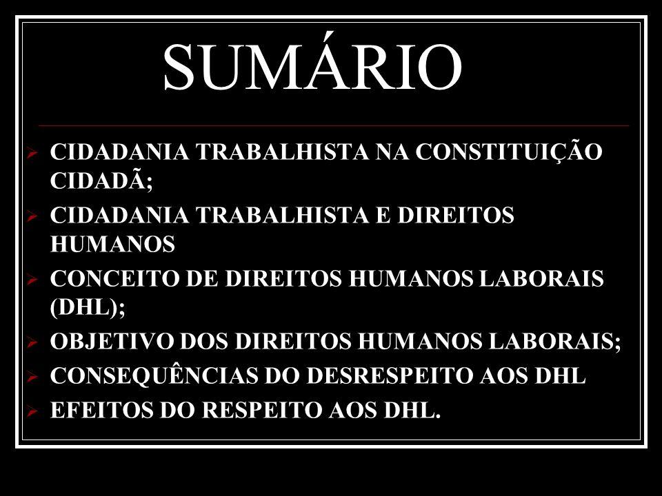 SUMÁRIO CIDADANIA TRABALHISTA NA CONSTITUIÇÃO CIDADÃ;