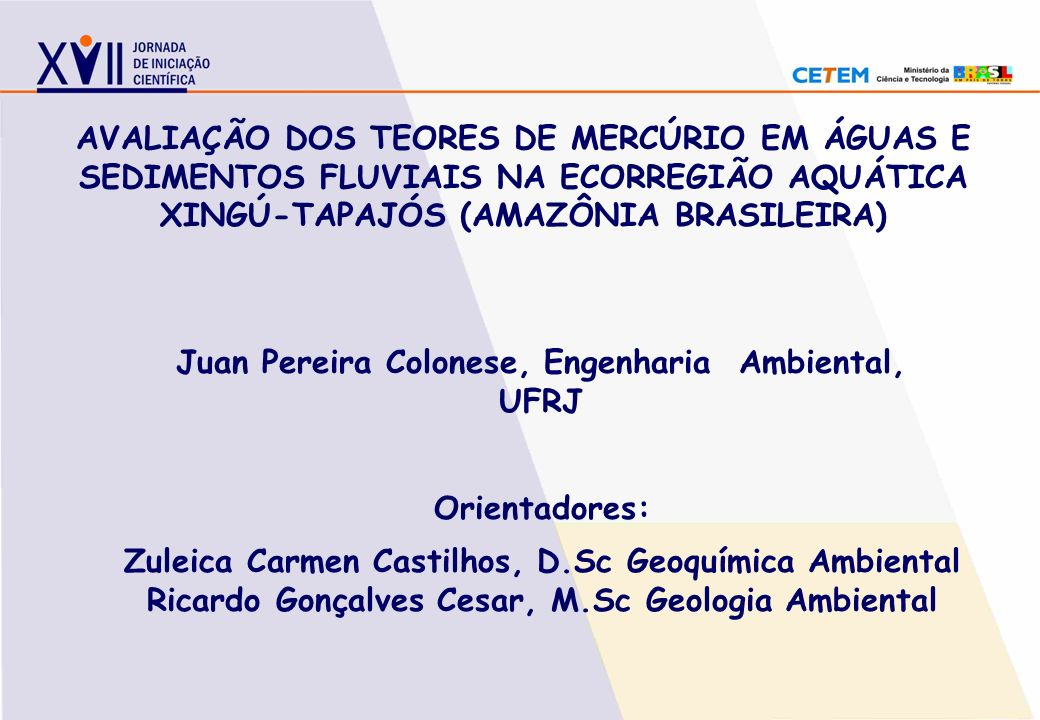 Juan Pereira Colonese, Engenharia Ambiental, UFRJ