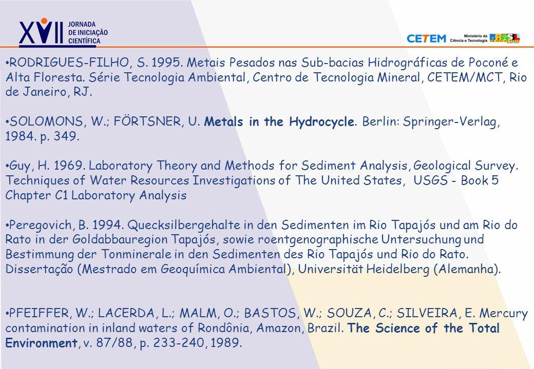 RODRIGUES-FILHO, S. 1995. Metais Pesados nas Sub-bacias Hidrográficas de Poconé e Alta Floresta. Série Tecnologia Ambiental, Centro de Tecnologia Mineral, CETEM/MCT, Rio de Janeiro, RJ.