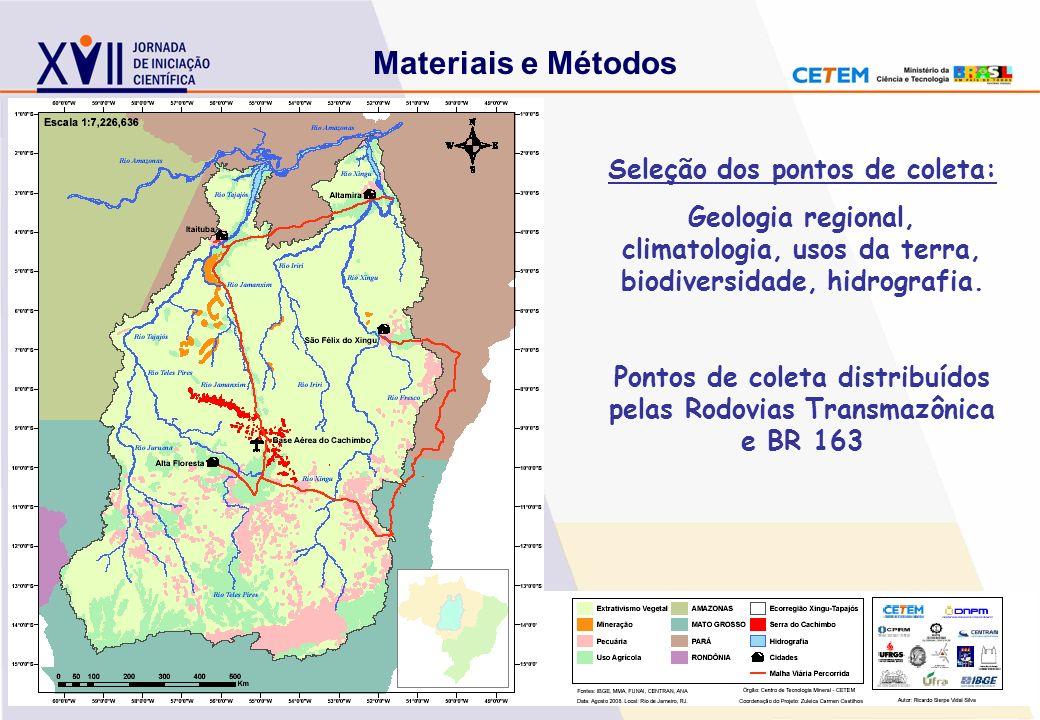 Materiais e Métodos Seleção dos pontos de coleta: