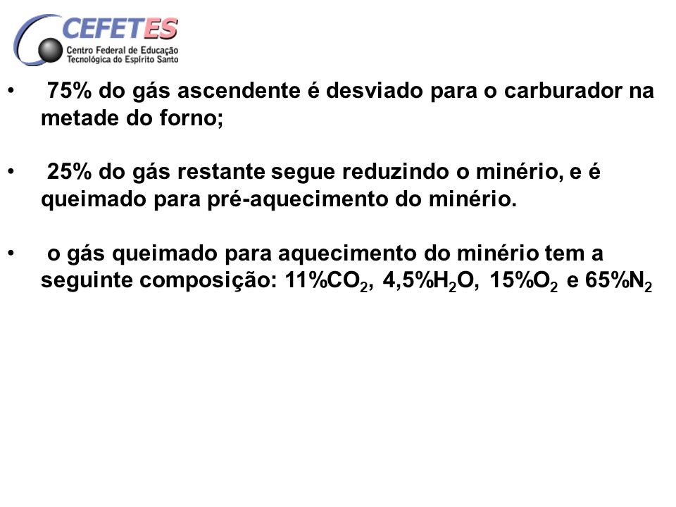 75% do gás ascendente é desviado para o carburador na metade do forno;