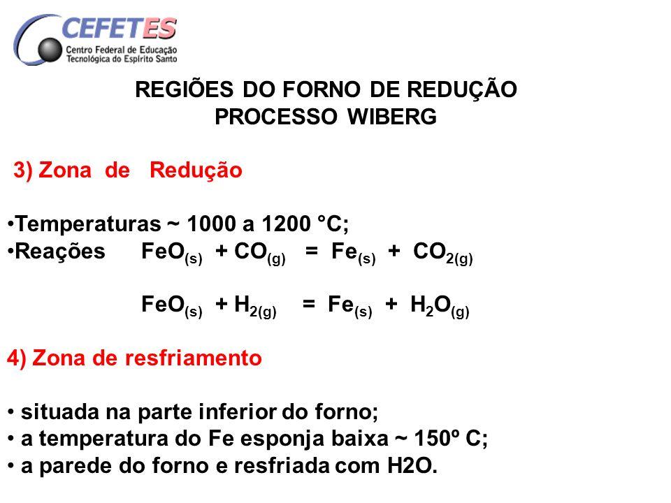 REGIÕES DO FORNO DE REDUÇÃO
