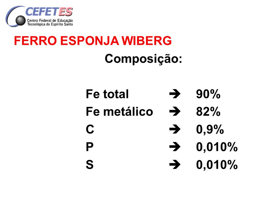 FERRO ESPONJA WIBERG Composição: Fe total  90% Fe metálico  82% C  0,9% P  0,010%