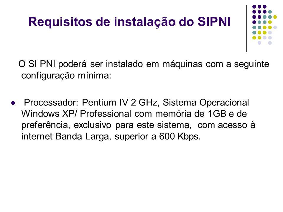 Requisitos de instalação do SIPNI