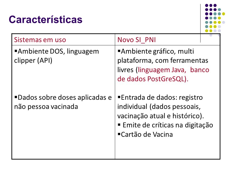 Características Sistemas em uso Novo SI_PNI