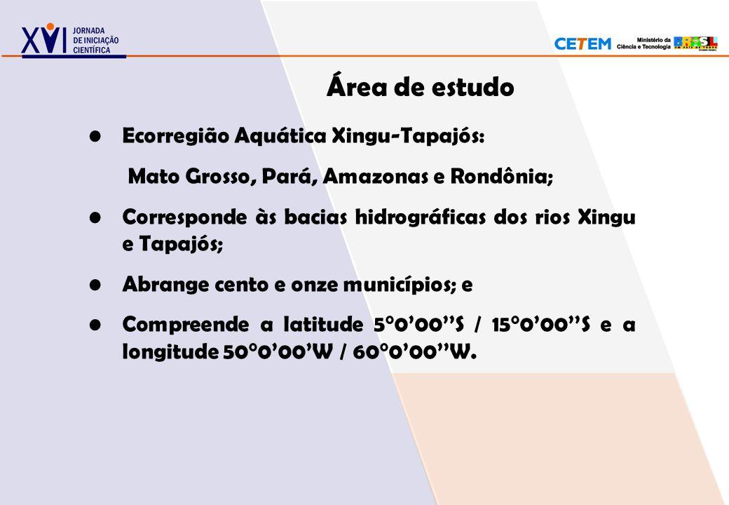 Área de estudo Ecorregião Aquática Xingu-Tapajós: