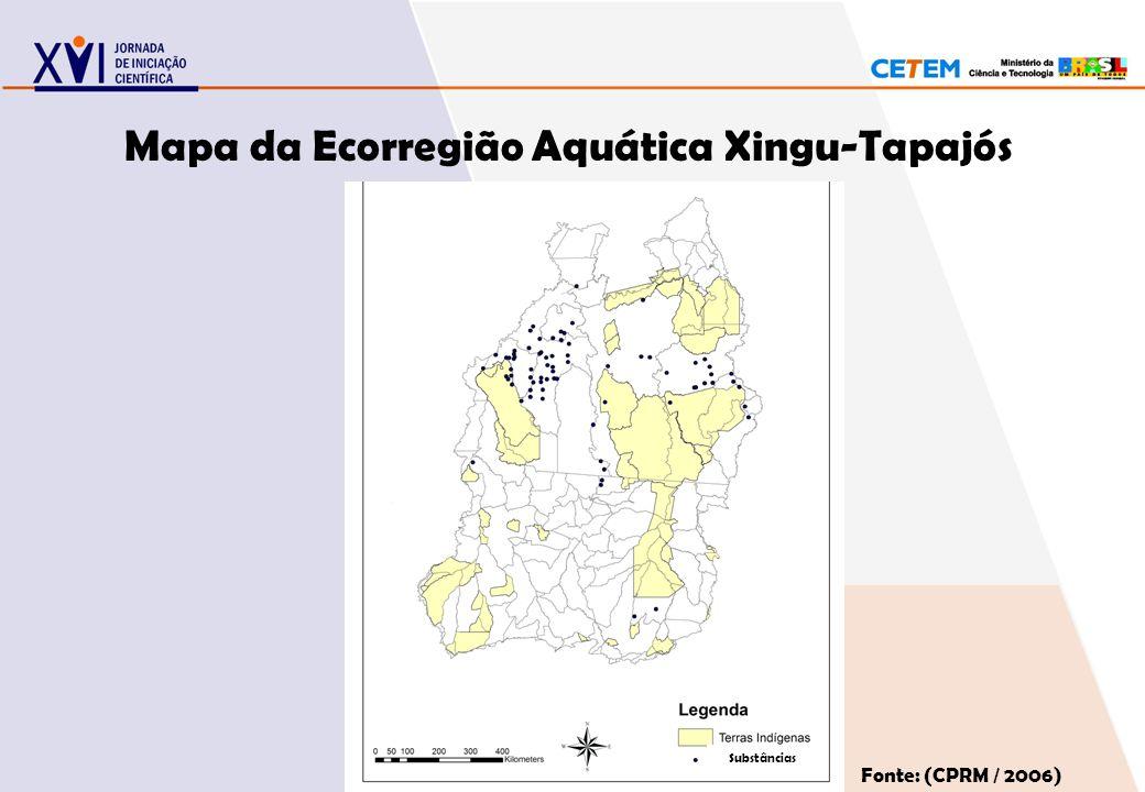 Mapa da Ecorregião Aquática Xingu-Tapajós