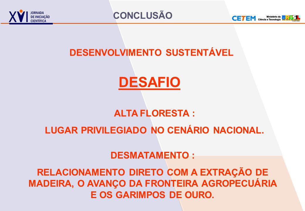 DESENVOLVIMENTO SUSTENTÁVEL LUGAR PRIVILEGIADO NO CENÁRIO NACIONAL.