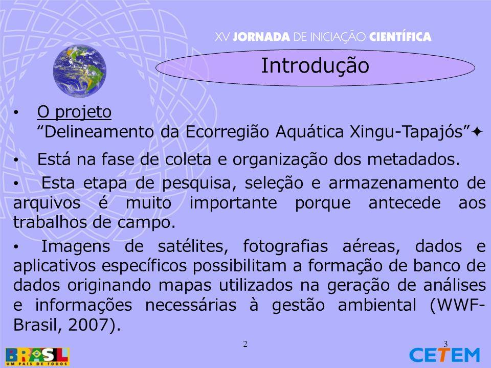 Introdução O projeto. Delineamento da Ecorregião Aquática Xingu-Tapajós  Está na fase de coleta e organização dos metadados.