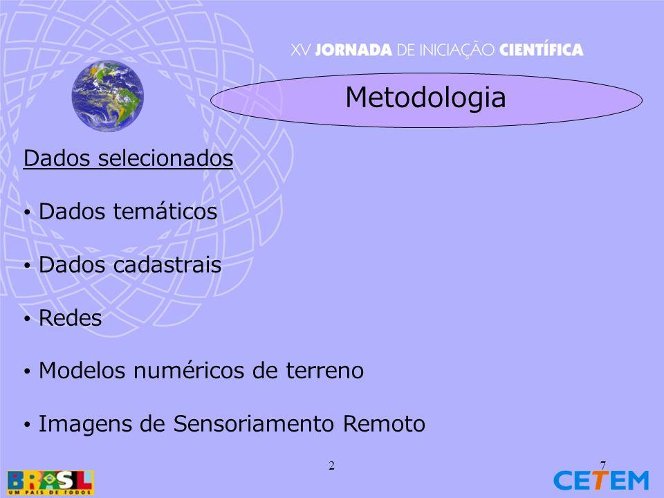 Metodologia Dados selecionados Dados temáticos Dados cadastrais Redes