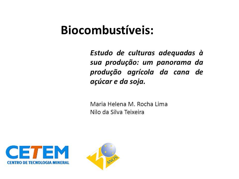 Biocombustíveis: Estudo de culturas adequadas à sua produção: um panorama da produção agrícola da cana de açúcar e da soja.