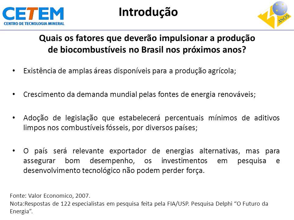 Introdução Quais os fatores que deverão impulsionar a produção de biocombustíveis no Brasil nos próximos anos