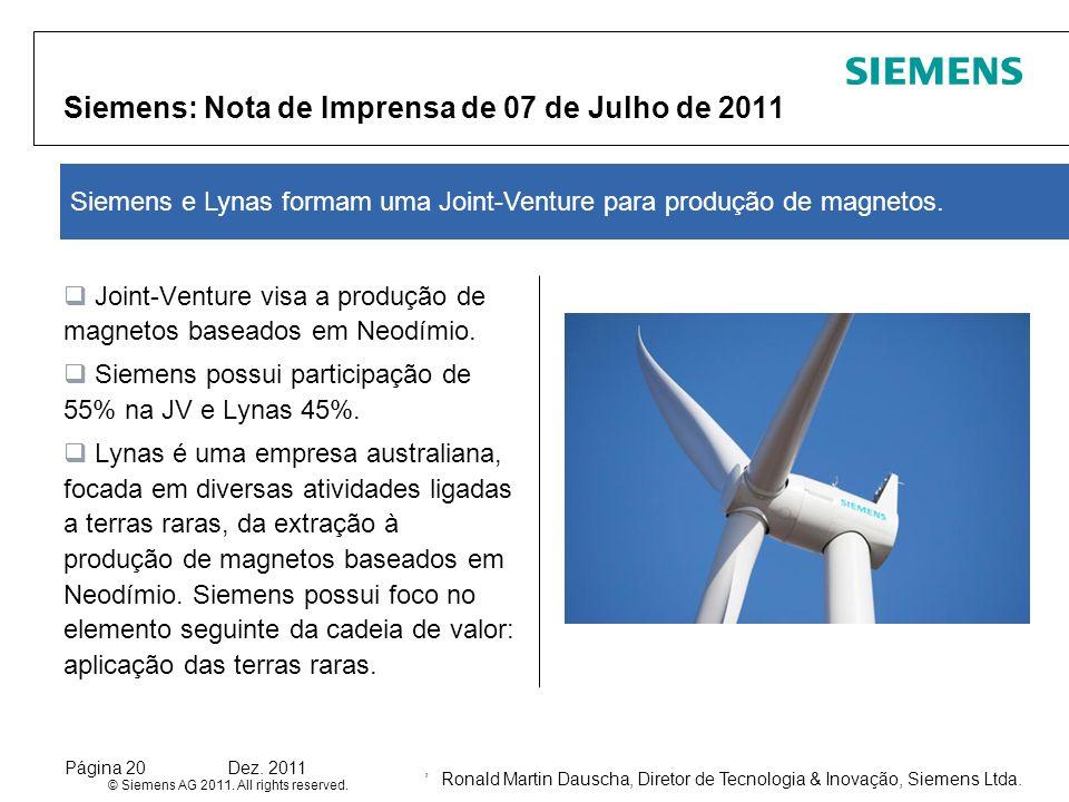 Siemens: Nota de Imprensa de 07 de Julho de 2011
