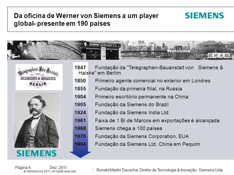 Da oficina de Werner von Siemens a um player global- presente em 190 países