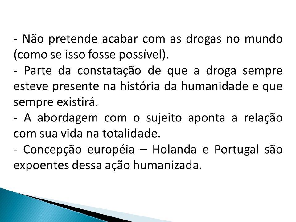- Não pretende acabar com as drogas no mundo (como se isso fosse possível).