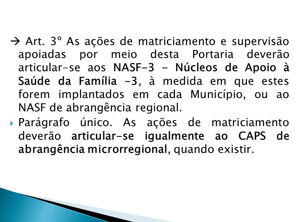  Art. 3º As ações de matriciamento e supervisão apoiadas por meio desta Portaria deverão articular-se aos NASF-3 - Núcleos de Apoio à Saúde da Família -3, à medida em que estes forem implantados em cada Município, ou ao NASF de abrangência regional.