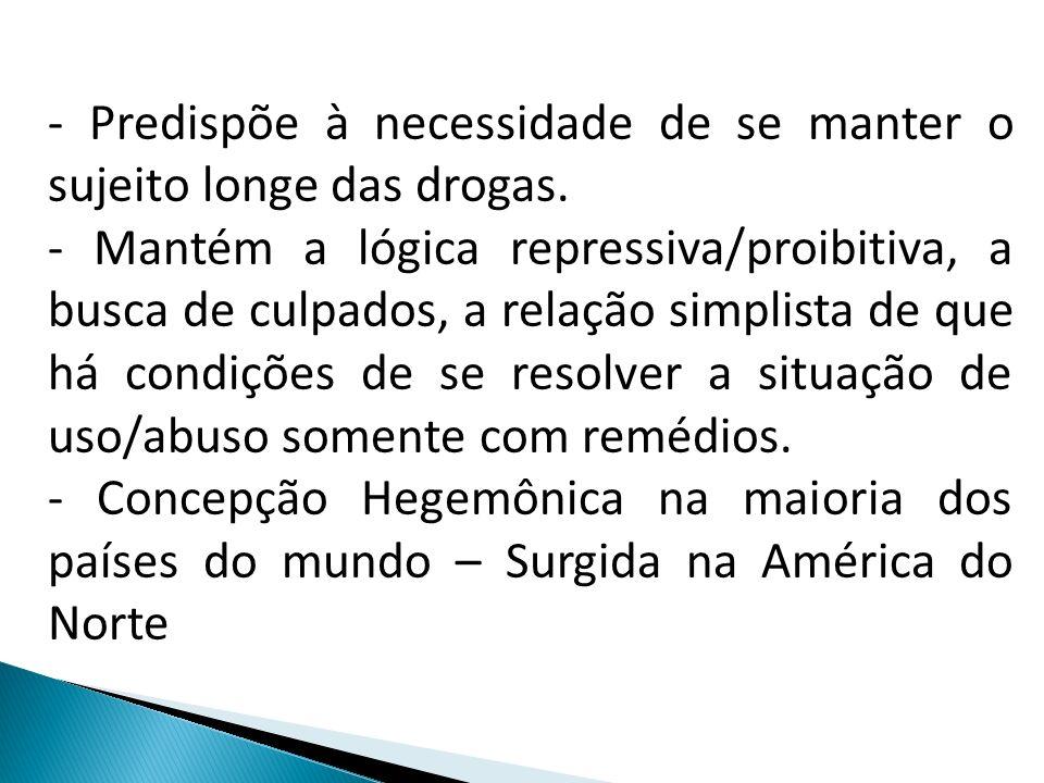 - Predispõe à necessidade de se manter o sujeito longe das drogas.