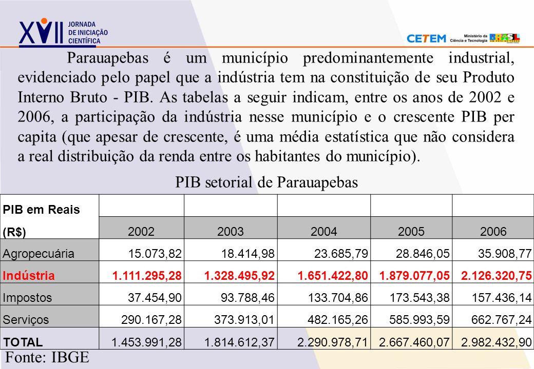 PIB setorial de Parauapebas