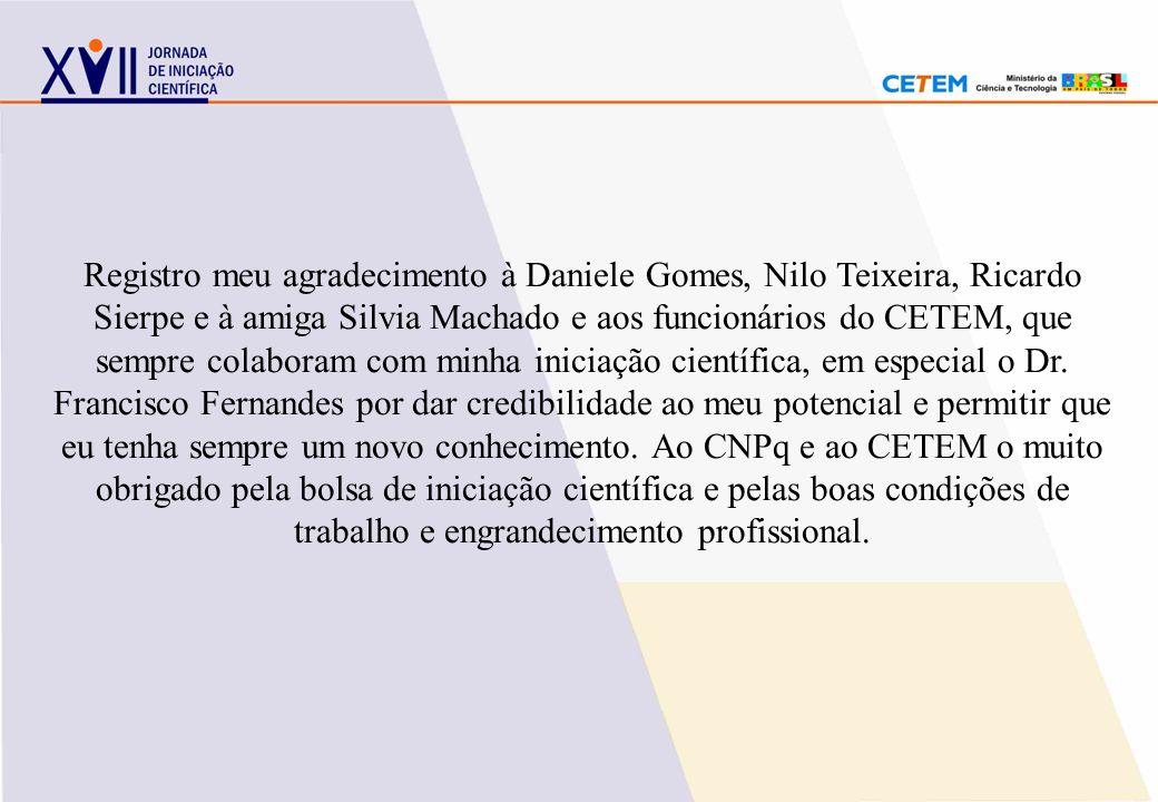 Registro meu agradecimento à Daniele Gomes, Nilo Teixeira, Ricardo Sierpe e à amiga Silvia Machado e aos funcionários do CETEM, que sempre colaboram com minha iniciação científica, em especial o Dr.