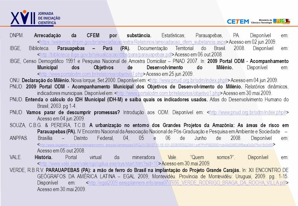 DNPM. Arrecadação da CFEM por substância. Estatísticas; Parauapebas, PA. Disponível em: <https://sistemas.dnpm.gov.br/arrecadacao/extra/Relatorios/arrecadacao_cfem_substancia.aspx> Acesso em 02.jun.2009.
